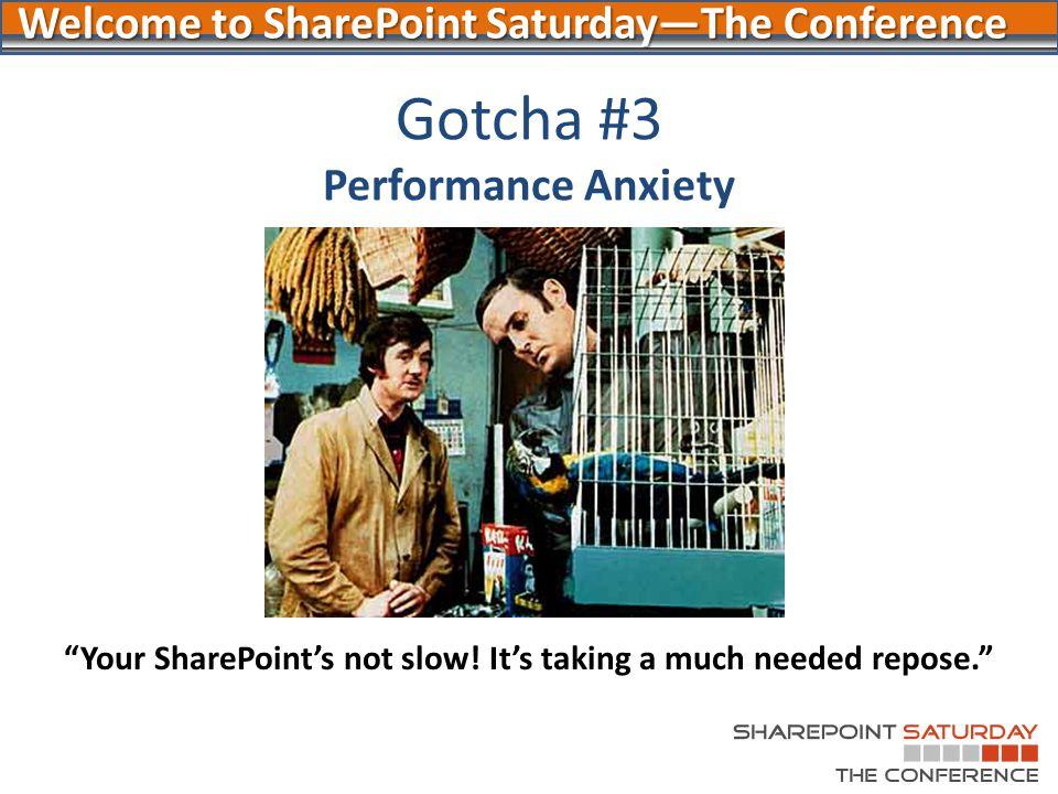 Gotcha #3 Performance Anxiety