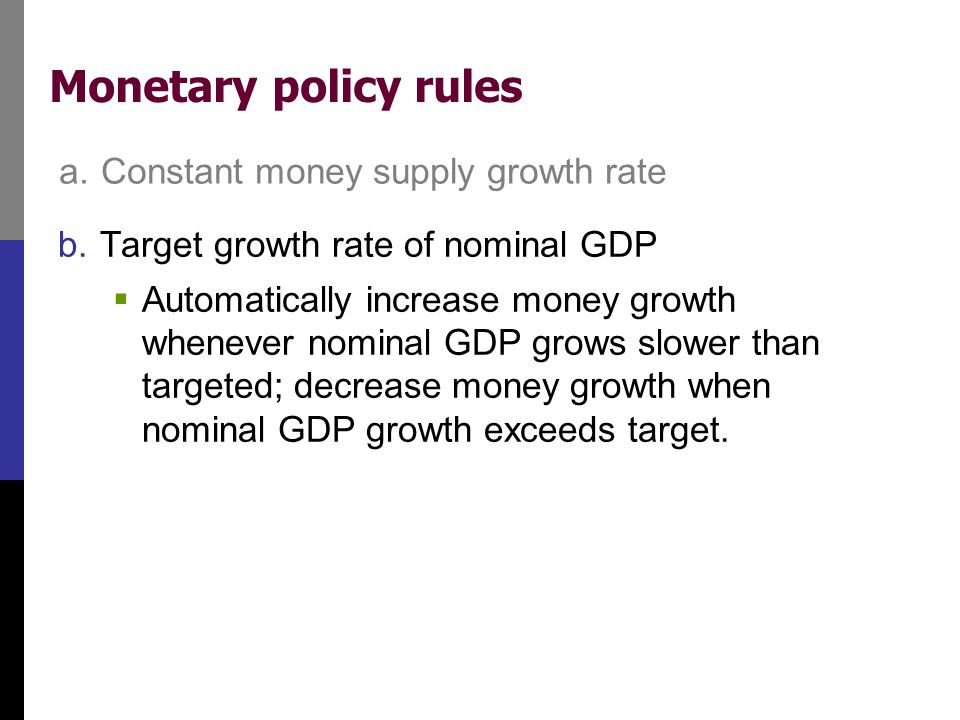Monetary policy rules a. Constant money supply growth rate