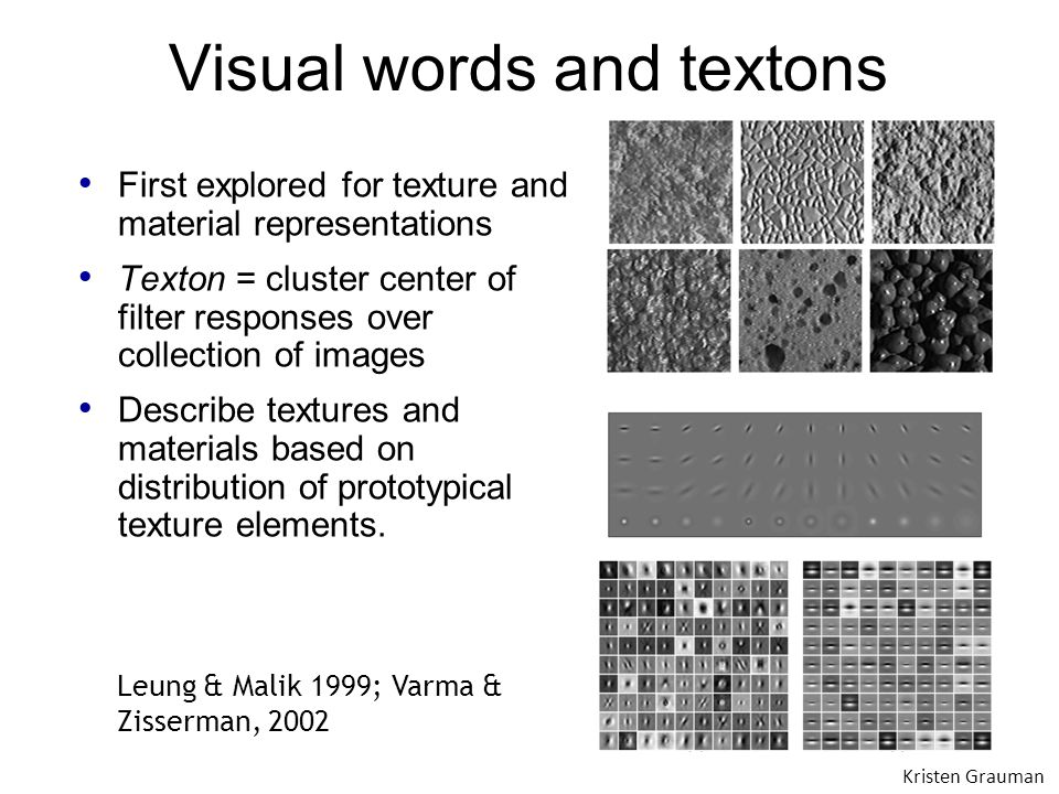 Visual words and textons