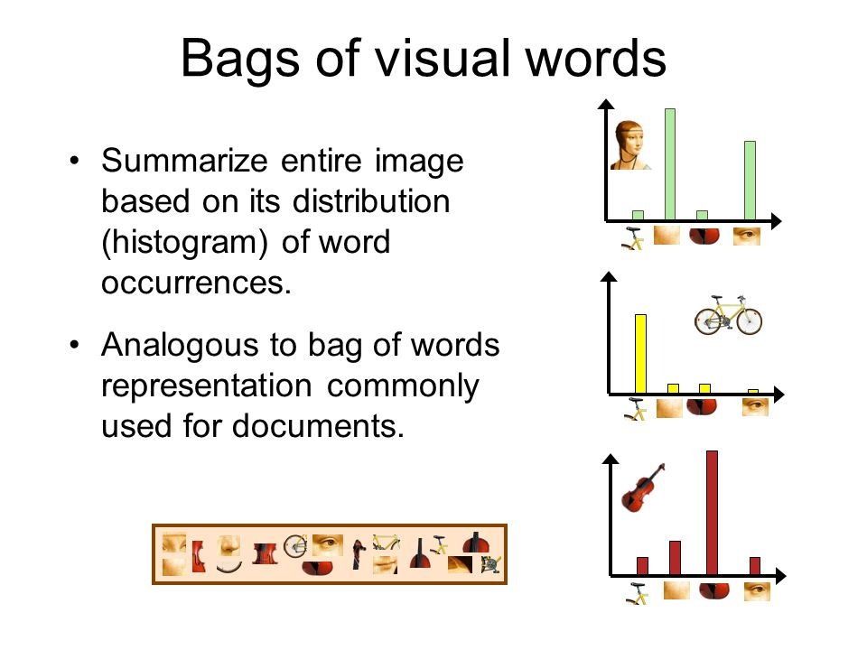 Bags of visual words Summarize entire image based on its distribution (histogram) of word occurrences.
