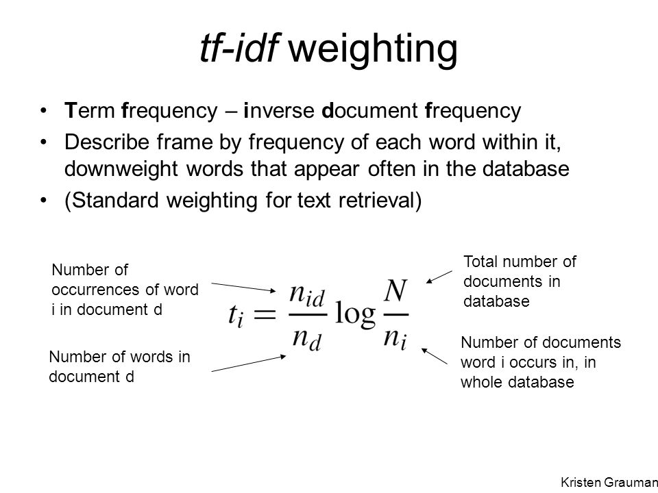 tf-idf weighting Term frequency – inverse document frequency