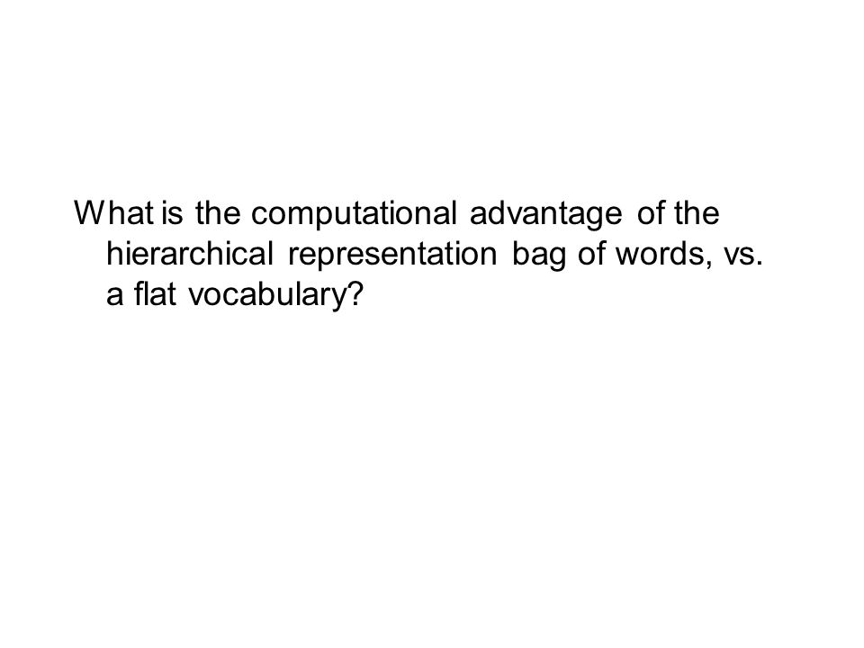 What is the computational advantage of the hierarchical representation bag of words, vs. a flat vocabulary