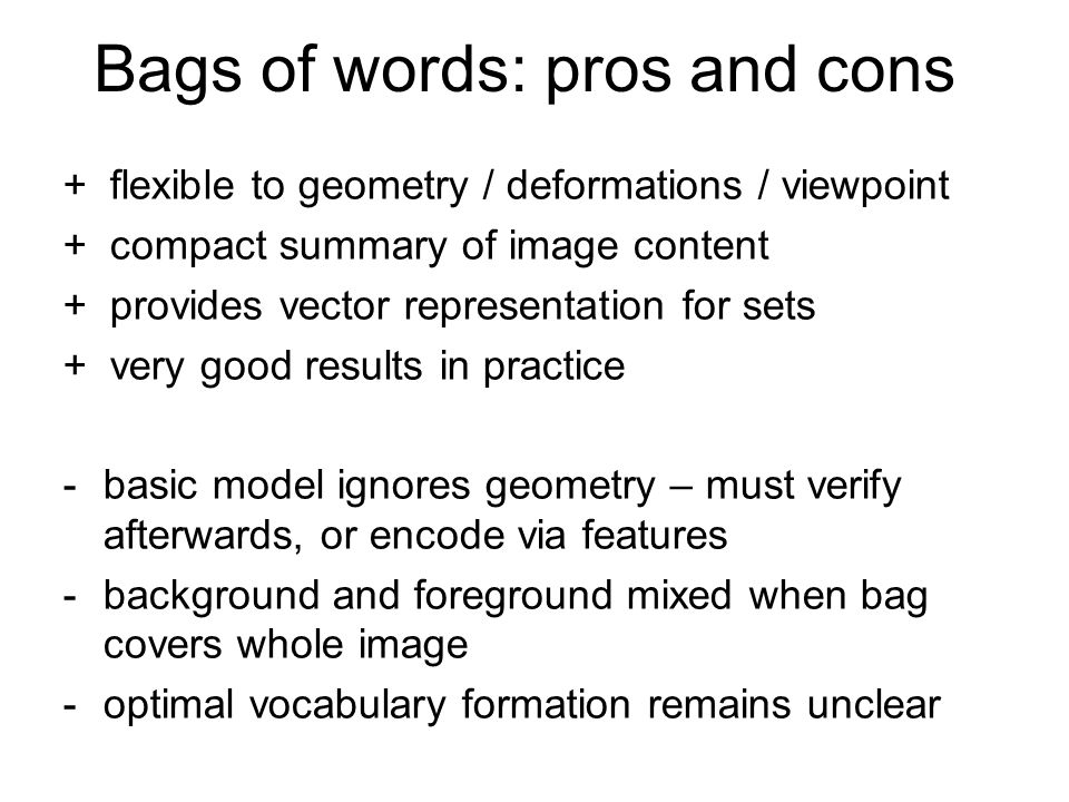 Bags of words: pros and cons