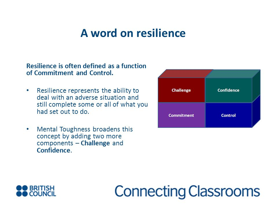 A word on resilience Resilience is often defined as a function of Commitment and Control.