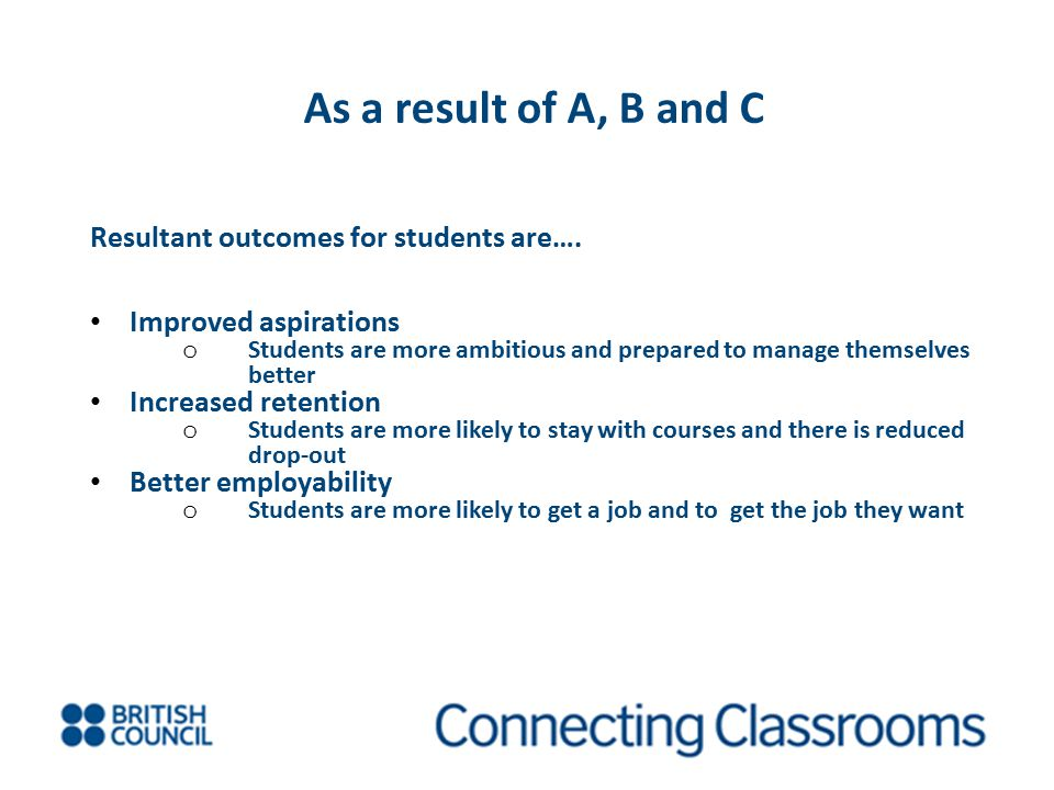 As a result of A, B and C Resultant outcomes for students are….