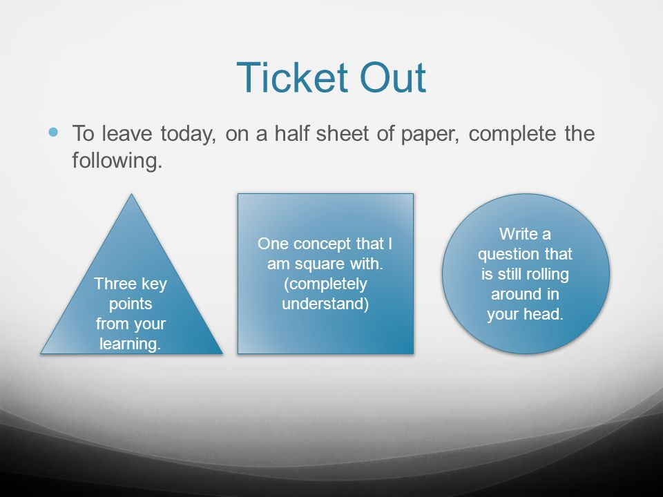 Ticket Out To leave today, on a half sheet of paper, complete the following. Three key points from your learning.
