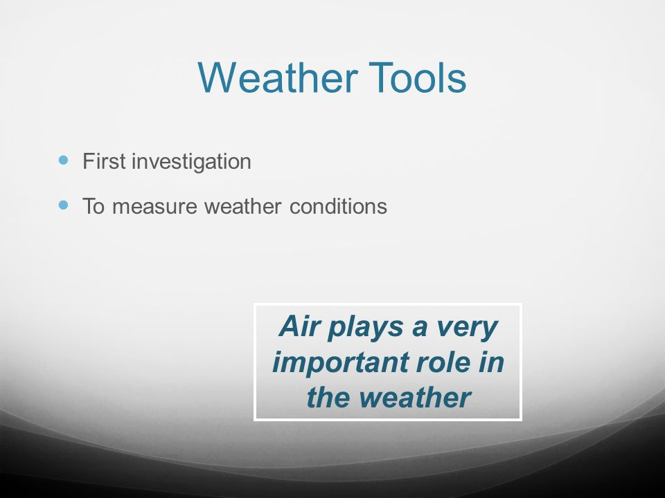 Air plays a very important role in the weather