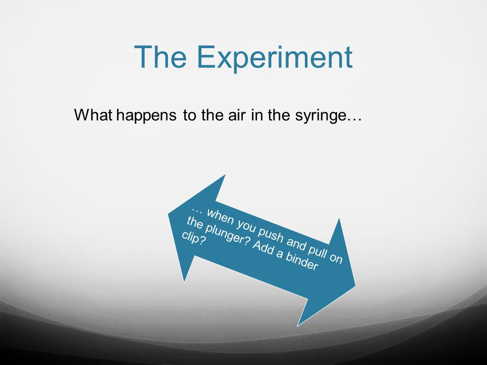 The Experiment What happens to the air in the syringe…