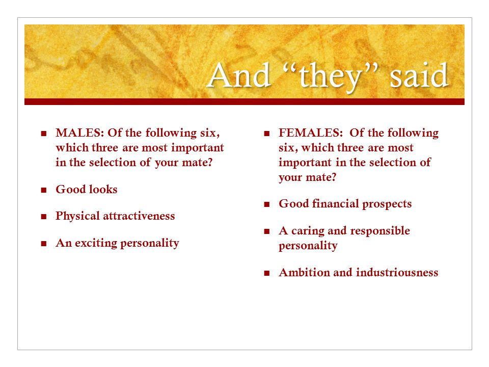 And they said MALES: Of the following six, which three are most important in the selection of your mate
