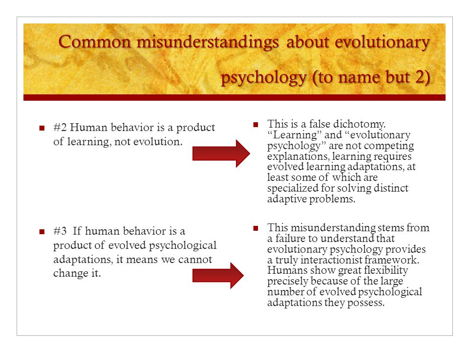 Common misunderstandings about evolutionary psychology (to name but 2)