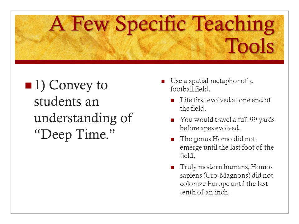 A Few Specific Teaching Tools