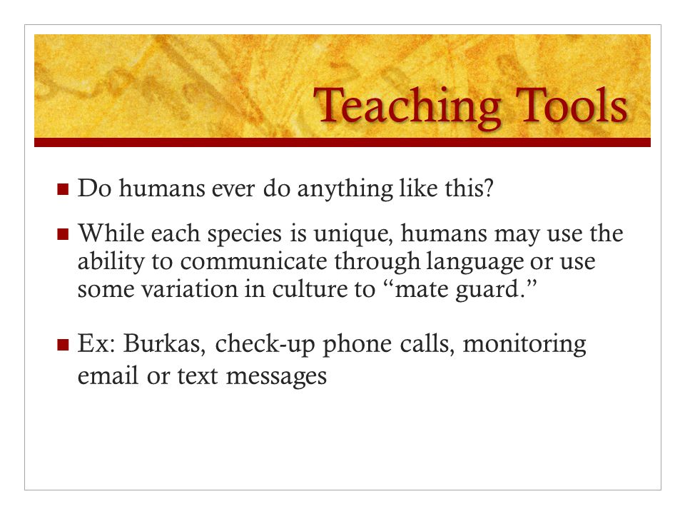Teaching Tools Do humans ever do anything like this