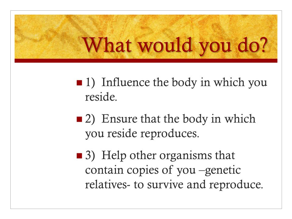 What would you do 1) Influence the body in which you reside.