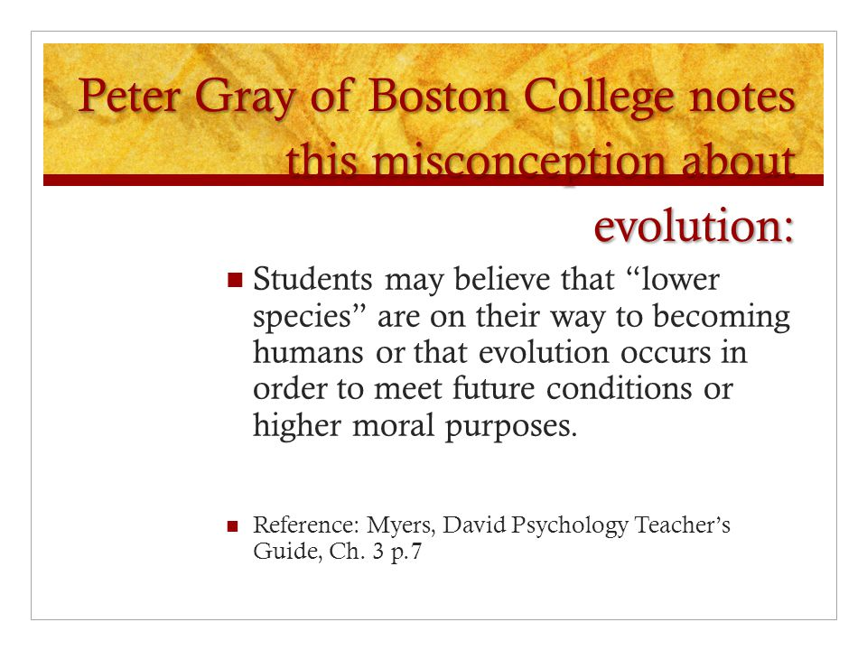 Peter Gray of Boston College notes this misconception about evolution: