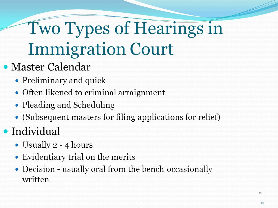 Two Types of Hearings in Immigration Court