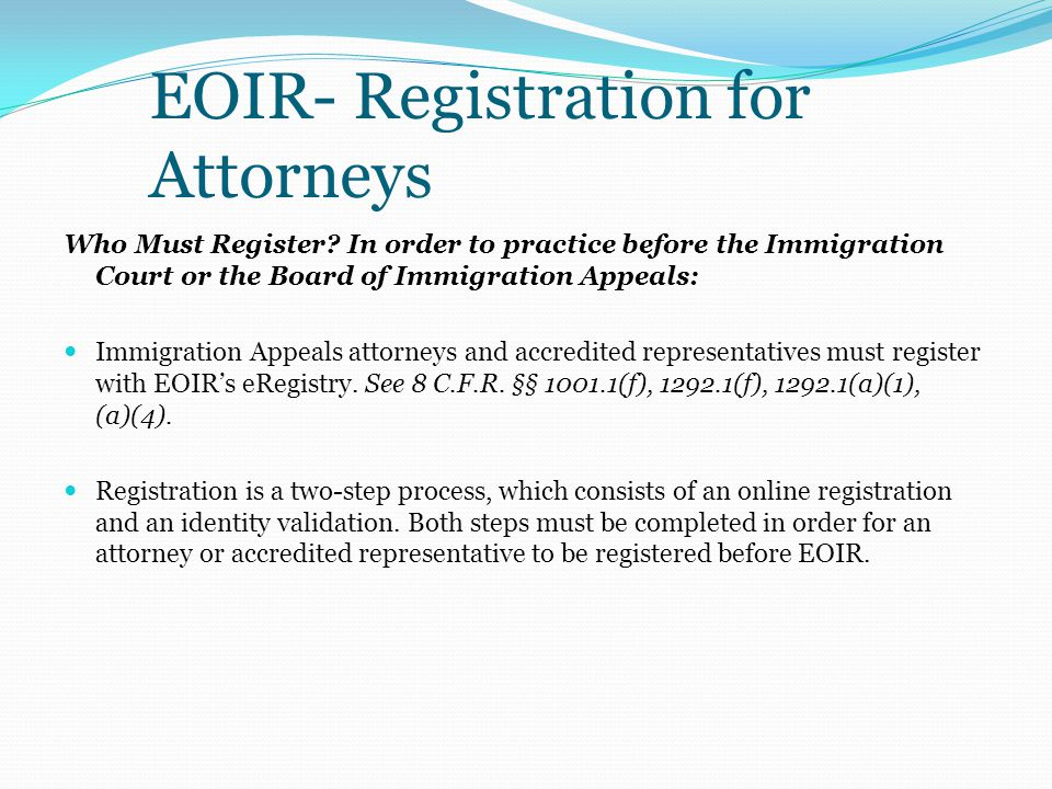 EOIR- Registration for Attorneys