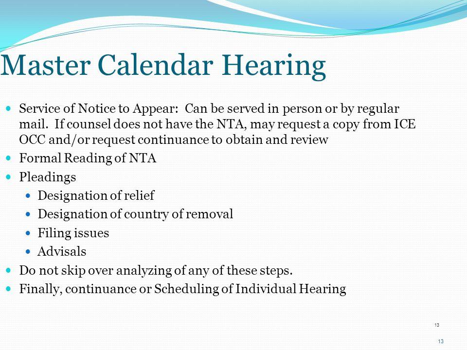 Master Calendar Hearing