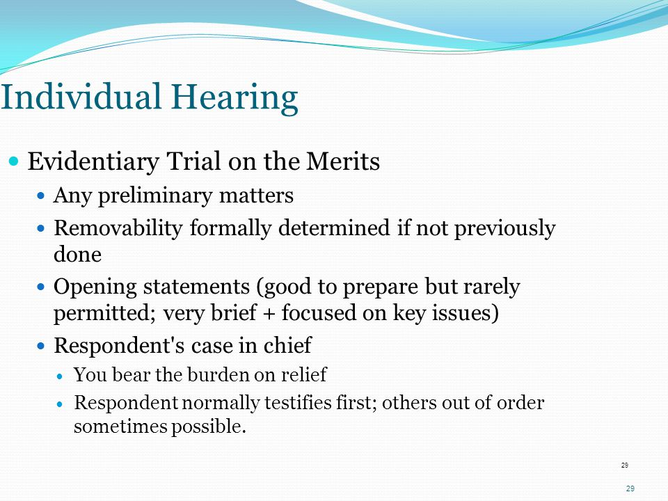 Individual Hearing Evidentiary Trial on the Merits