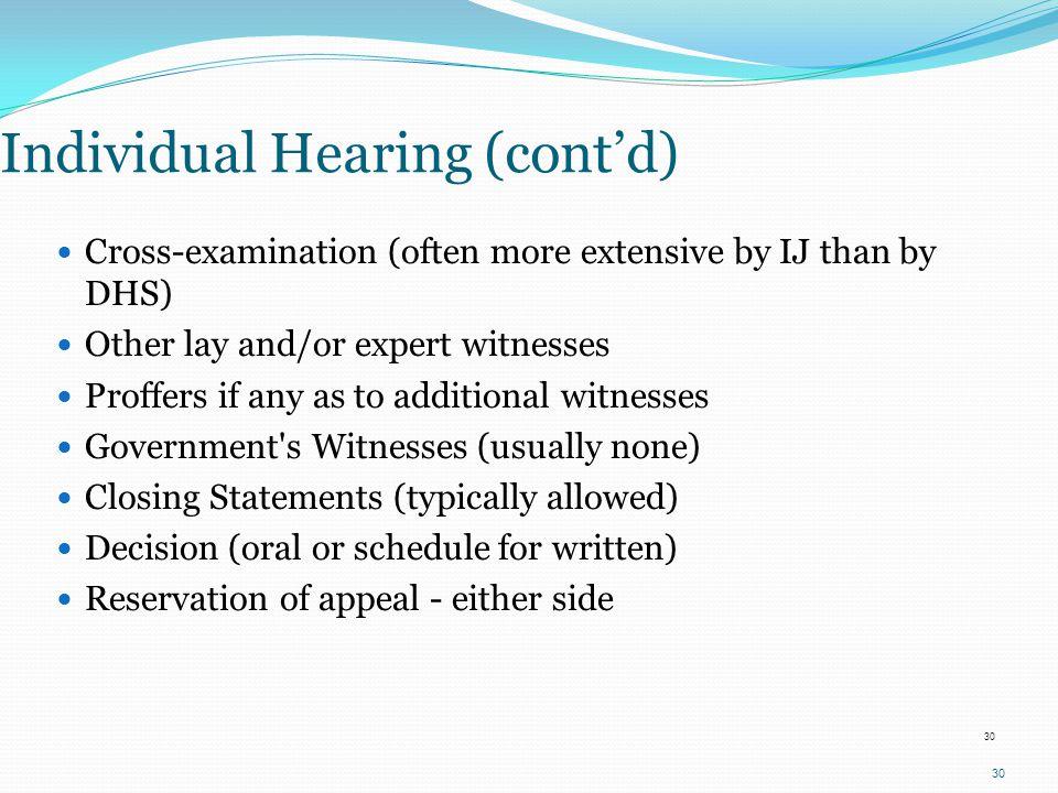 Individual Hearing (cont'd)