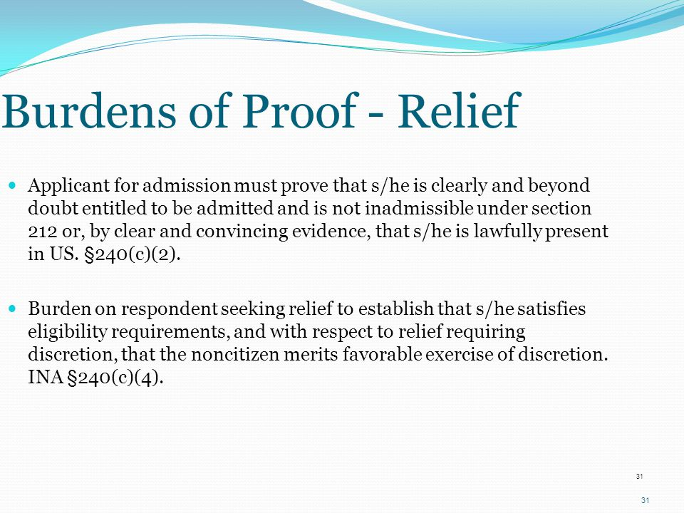 Burdens of Proof - Relief