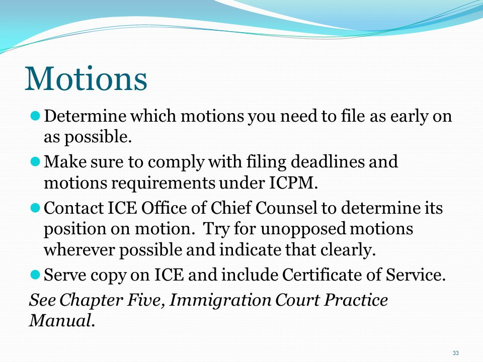 Motions Determine which motions you need to file as early on as possible.