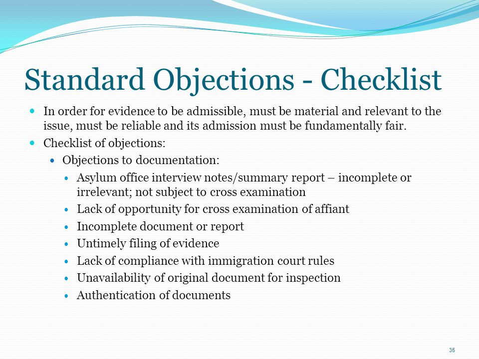 Standard Objections - Checklist