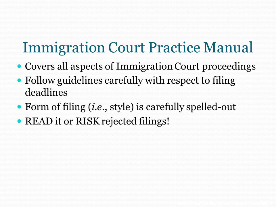 Immigration Court Practice Manual