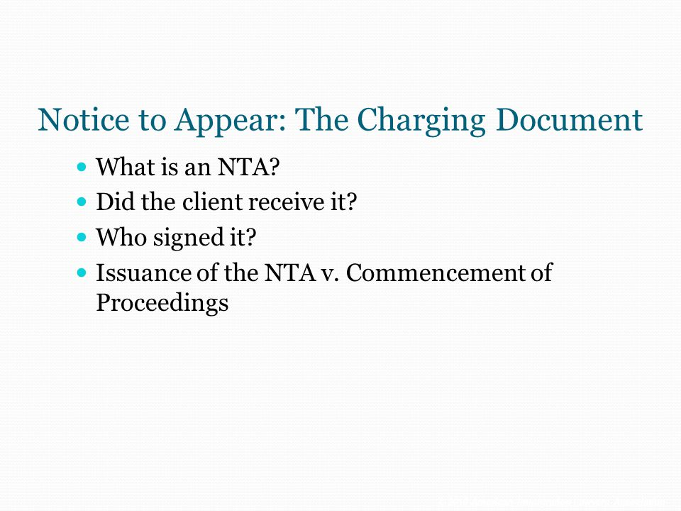Notice to Appear: The Charging Document