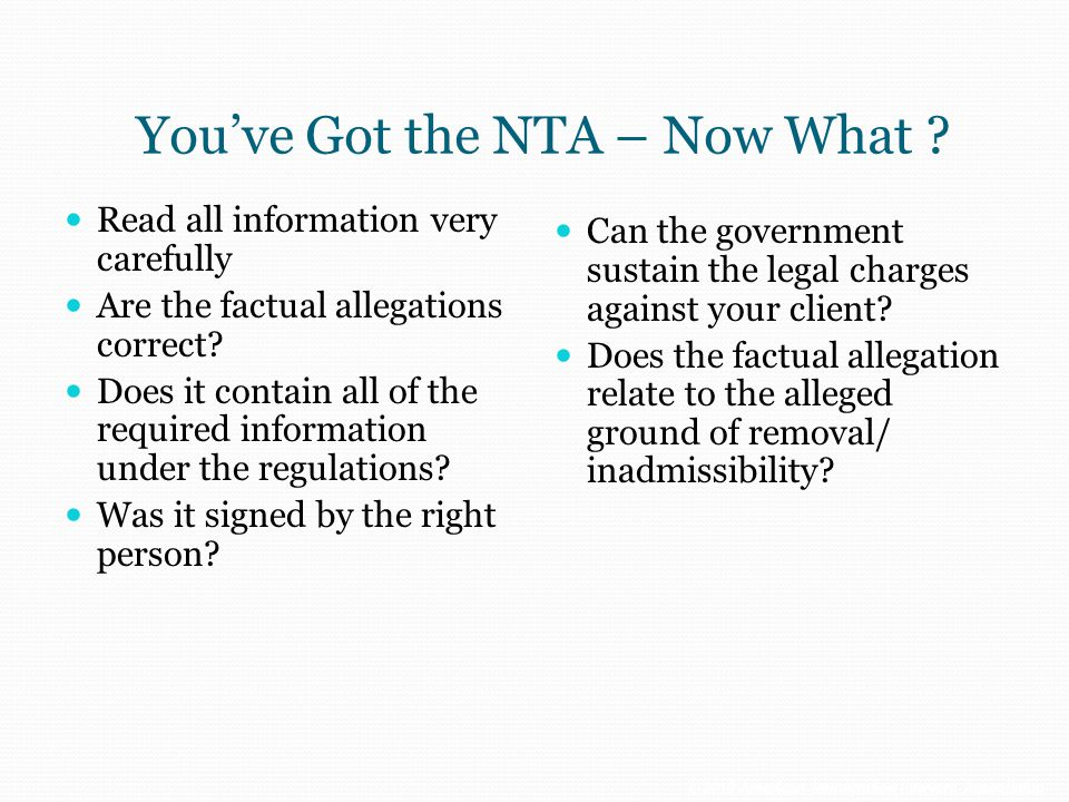 You've Got the NTA – Now What
