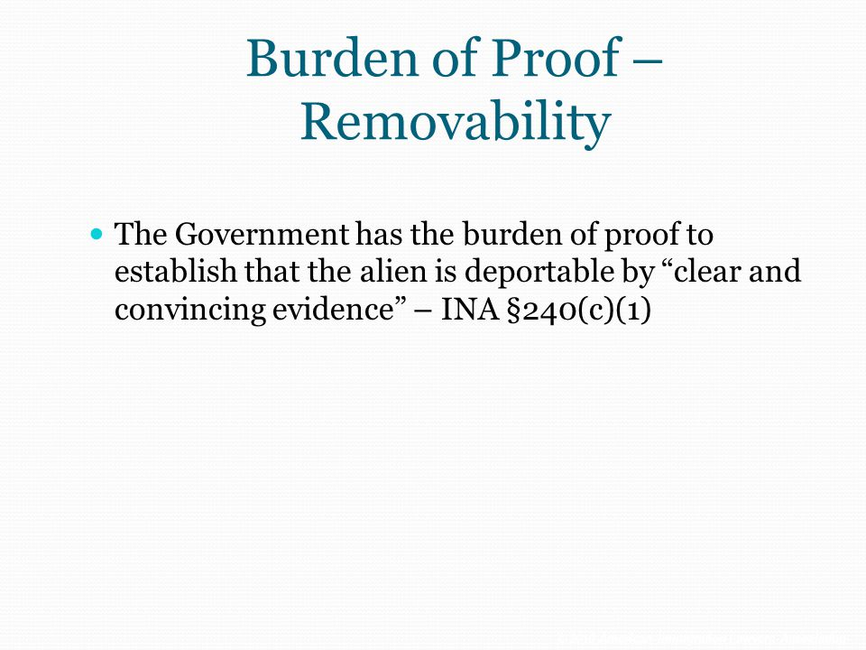Burden of Proof – Removability