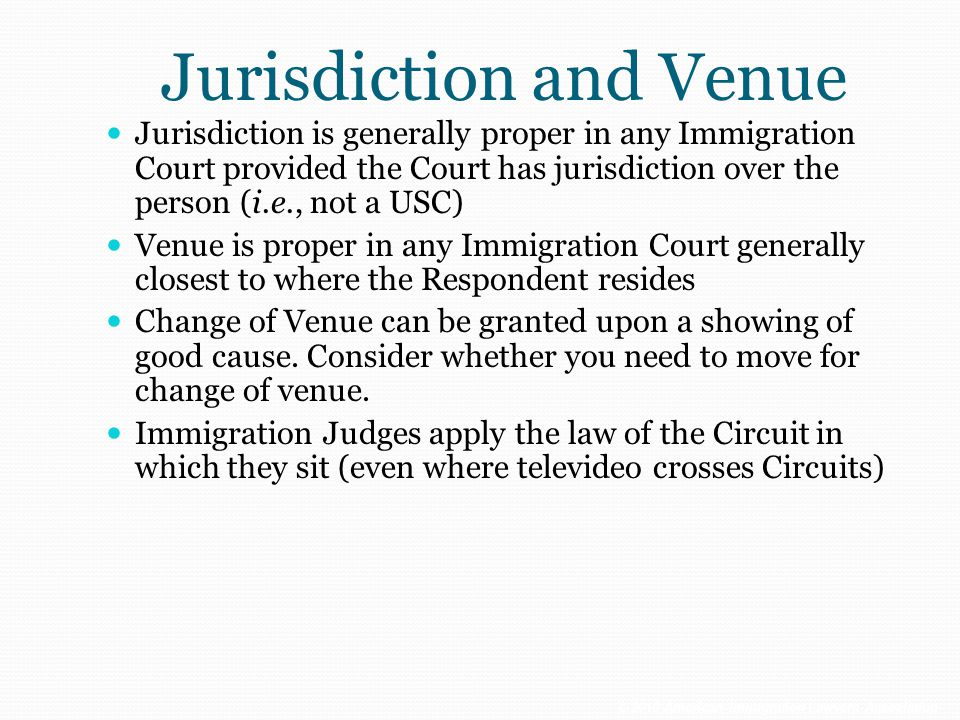 Jurisdiction and Venue