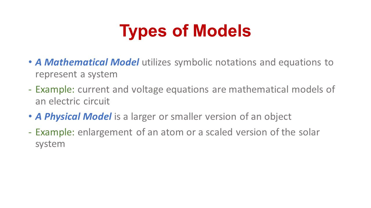 Types of Models A Mathematical Model utilizes symbolic notations and equations to represent a system.