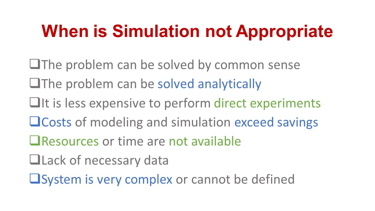 When is Simulation not Appropriate