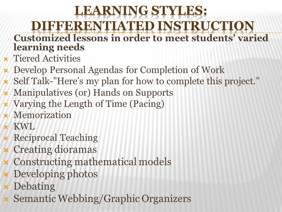 Learning Styles: Differentiated Instruction