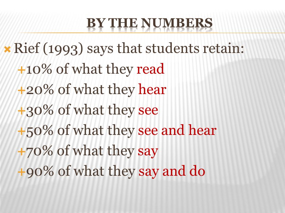 Rief (1993) says that students retain: 10% of what they read