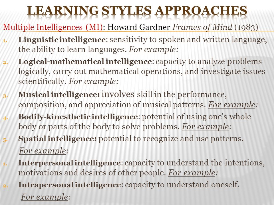 Learning styles approaches