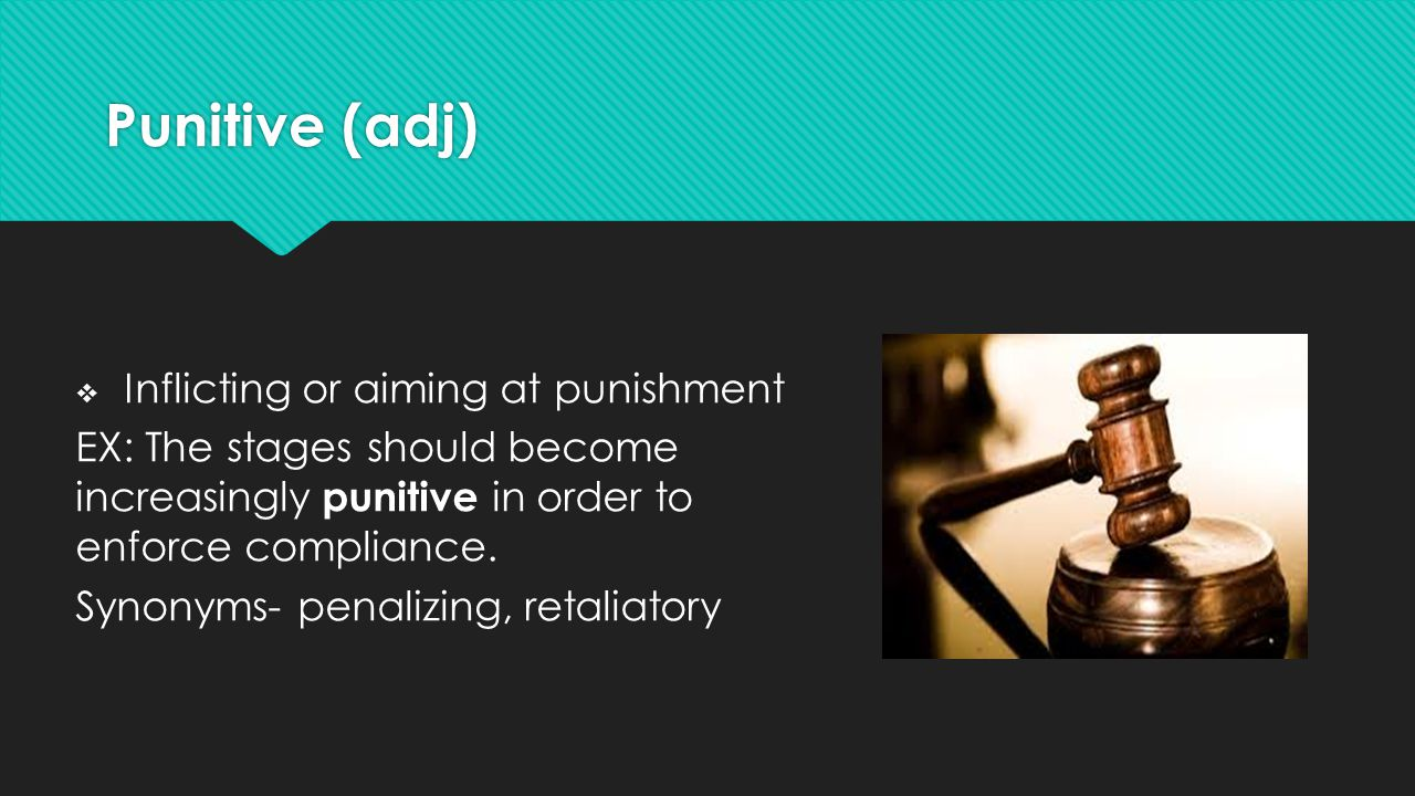 Punitive (adj) Inflicting or aiming at punishment
