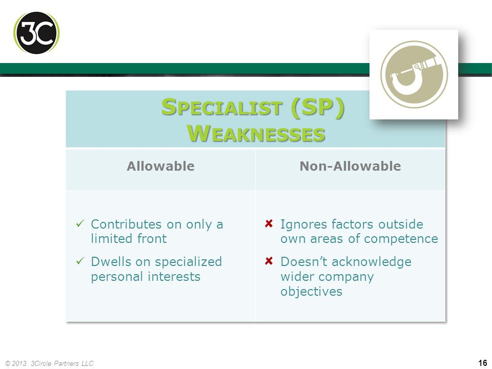 Specialist (SP) Weaknesses Allowable Non-Allowable