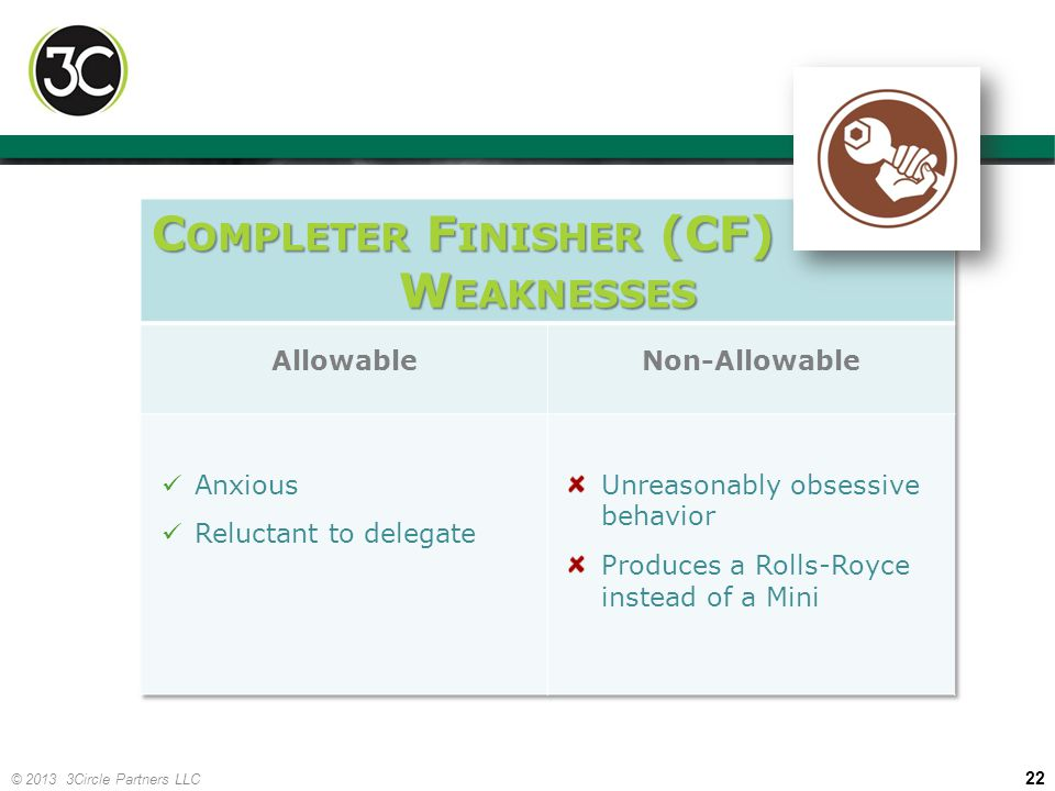 Completer Finisher (CF) Weaknesses