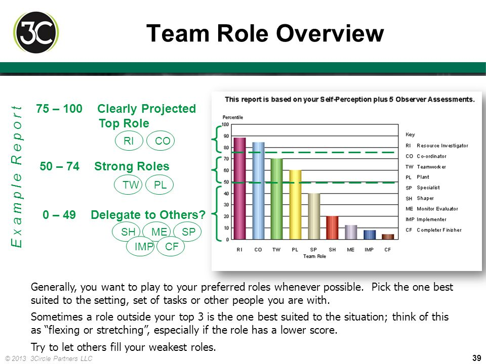 Team Role Overview Example Report 75 – 100 Clearly Projected Top Role