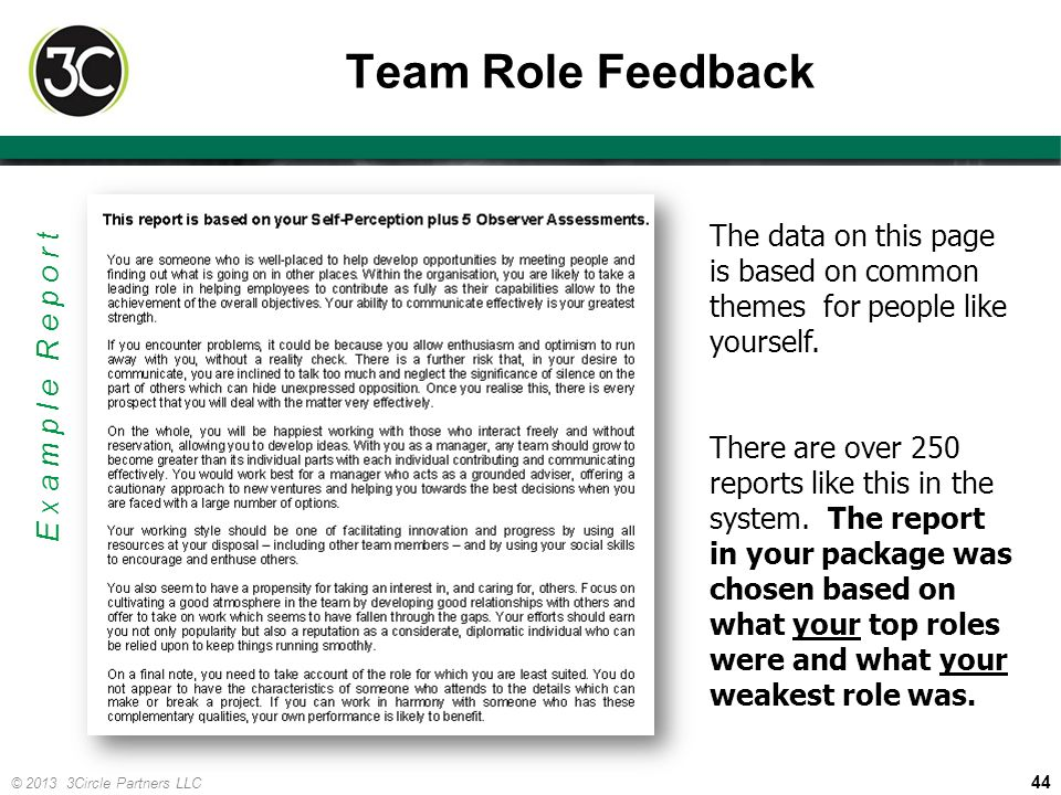 Team Role Feedback The data on this page is based on common themes for people like yourself.