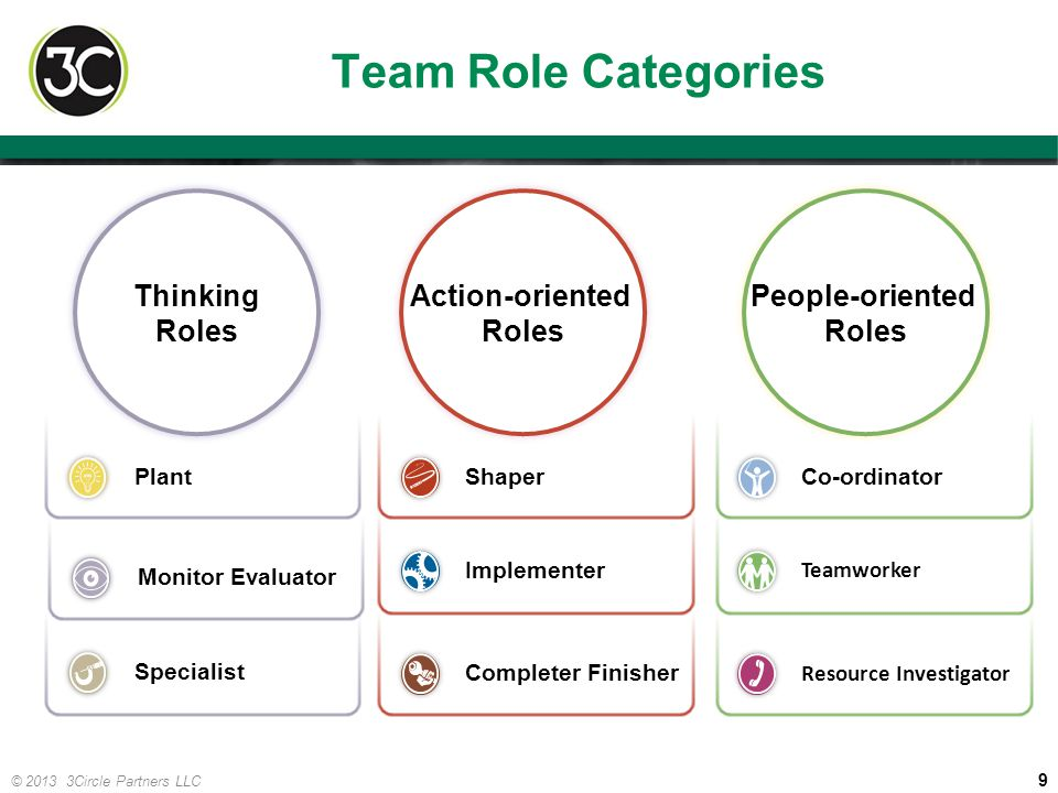 Team Role Categories Thinking Roles Action-oriented Roles