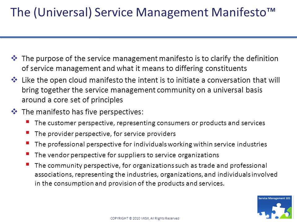 The (Universal) Service Management Manifesto™