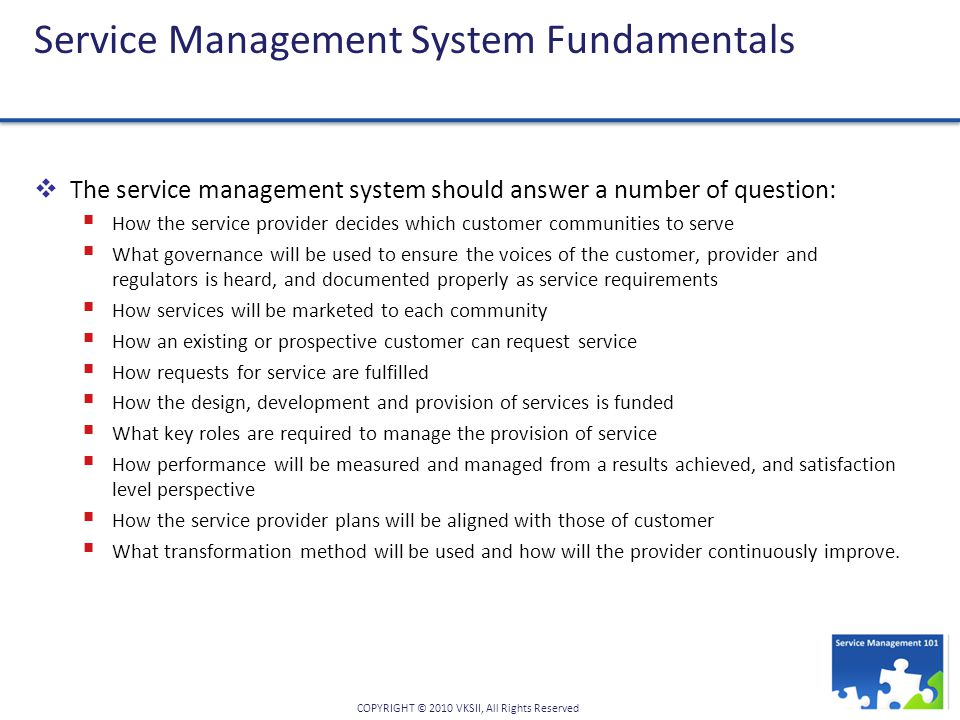 Service Management System Fundamentals