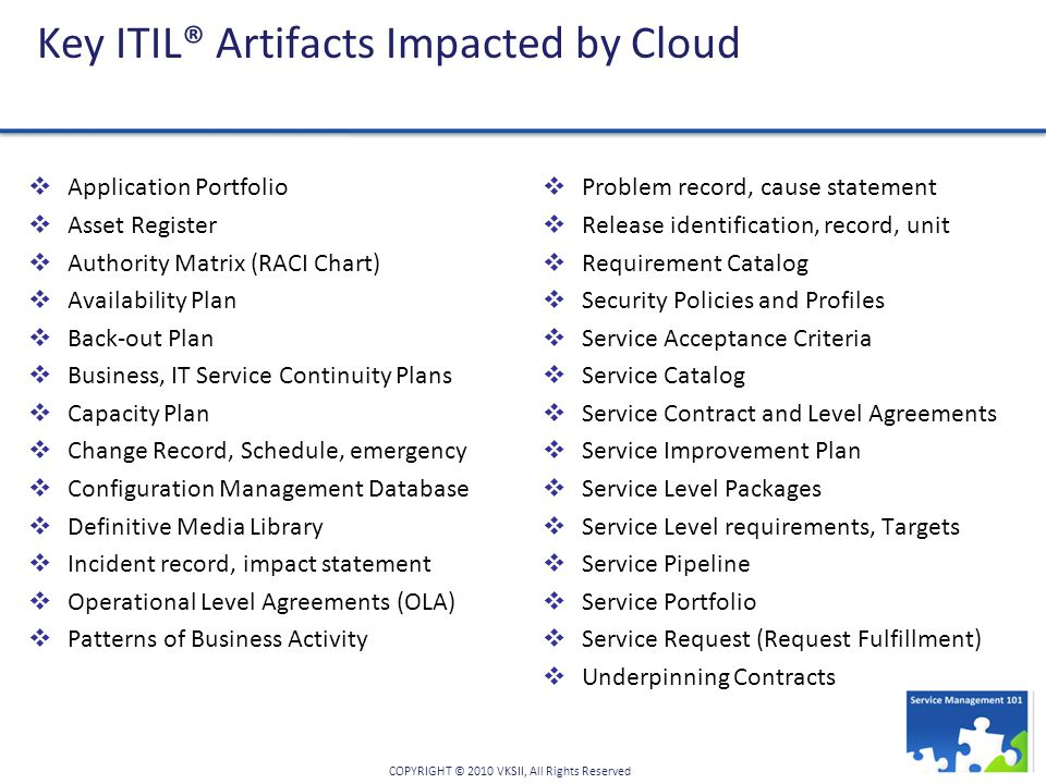 Key ITIL® Artifacts Impacted by Cloud