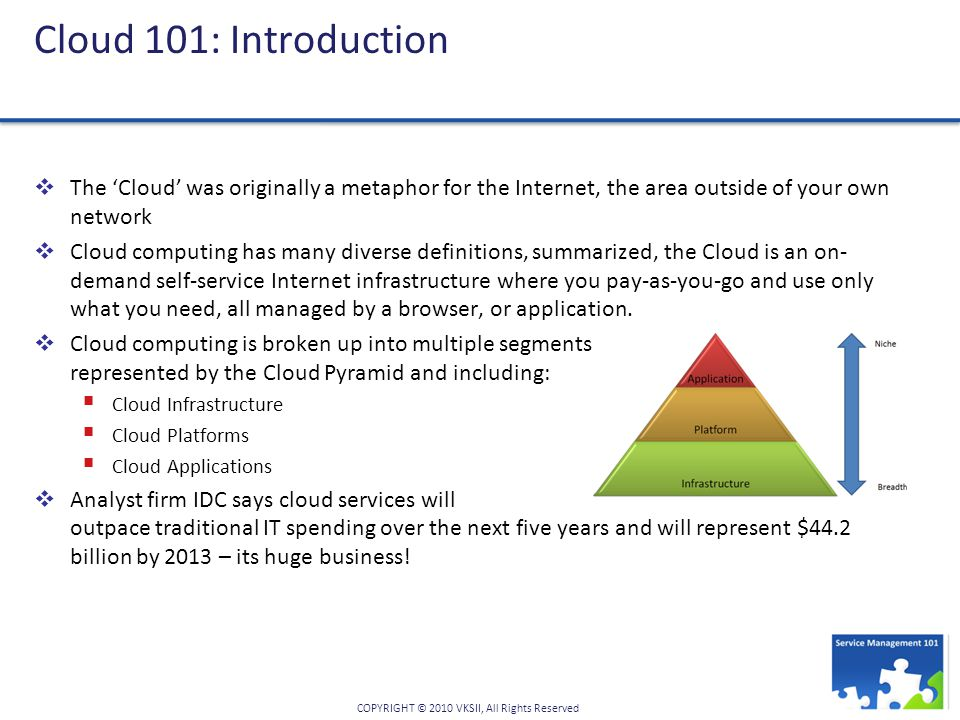 Cloud 101: Introduction The 'Cloud' was originally a metaphor for the Internet, the area outside of your own network.