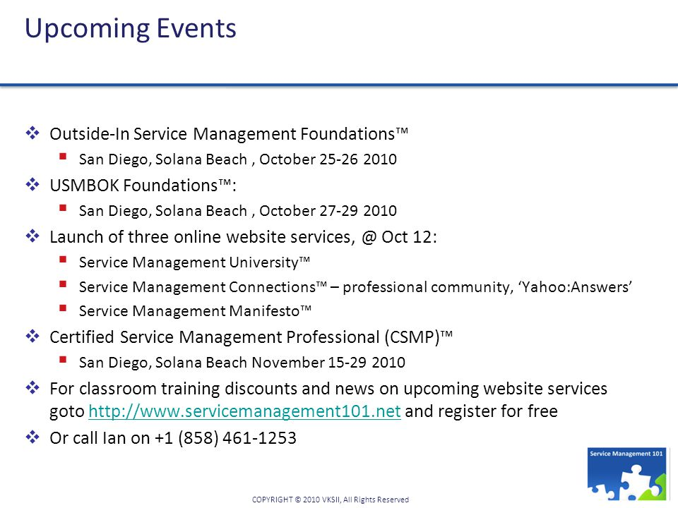 OUTSIDE-IN SERVICE MANAGEMENT 101™ WORKSHOP SERIES