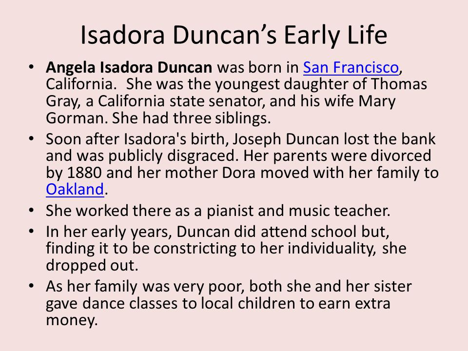 Isadora Duncan's Early Life