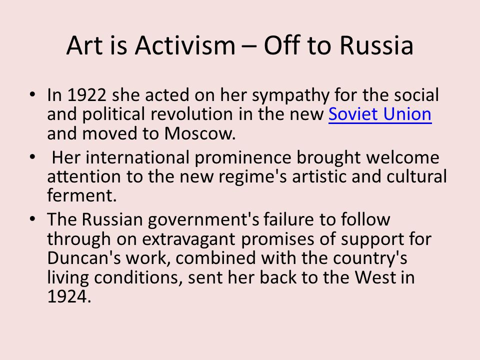 Art is Activism – Off to Russia