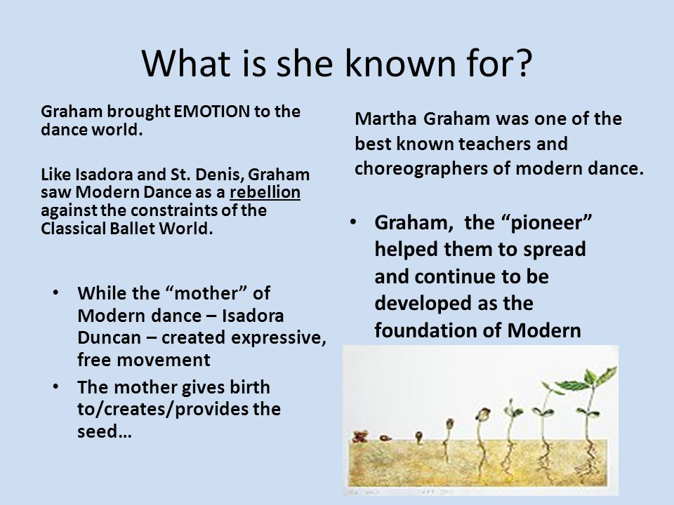 What is she known for Graham brought EMOTION to the dance world.